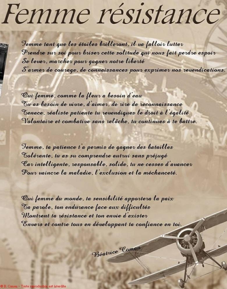 Poème Inédit Femme Résistance De Béatrice Coman